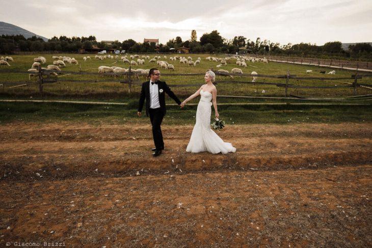 Gli sposi tra i campi Matrimonio ad Alghero