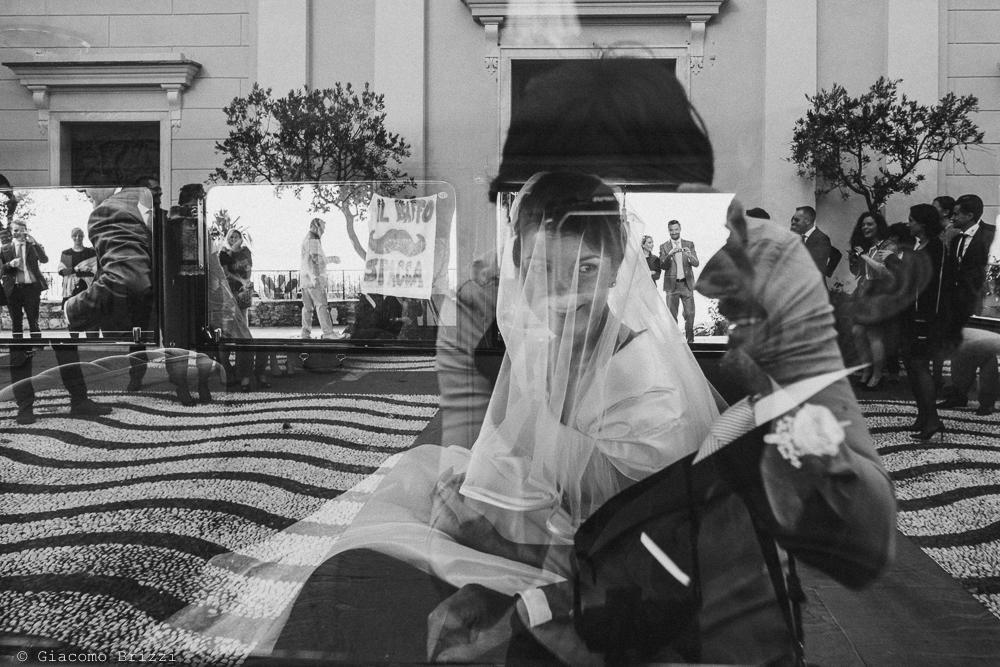 Foto con effetto riflesso della sposa, fotografo matrimonio rapallo, liguria