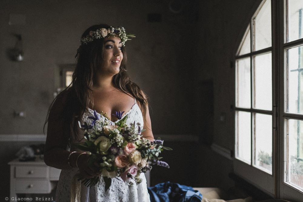 Primo piano sulla sposa, fotografo matrimonio ricevimento la ginestra, finale ligure